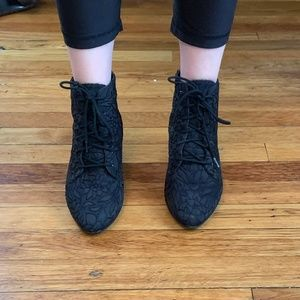 Vintage Embroidered Lace Up Booties